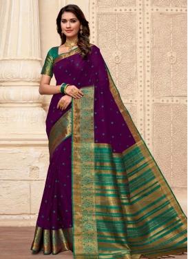 Art Silk Purple and Sea Green Designer Contemporary Saree
