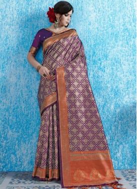 Art Silk Purple Weaving Designer Traditional Saree
