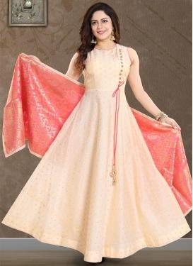 Art Silk Readymade Designer Gown For Ceremonial
