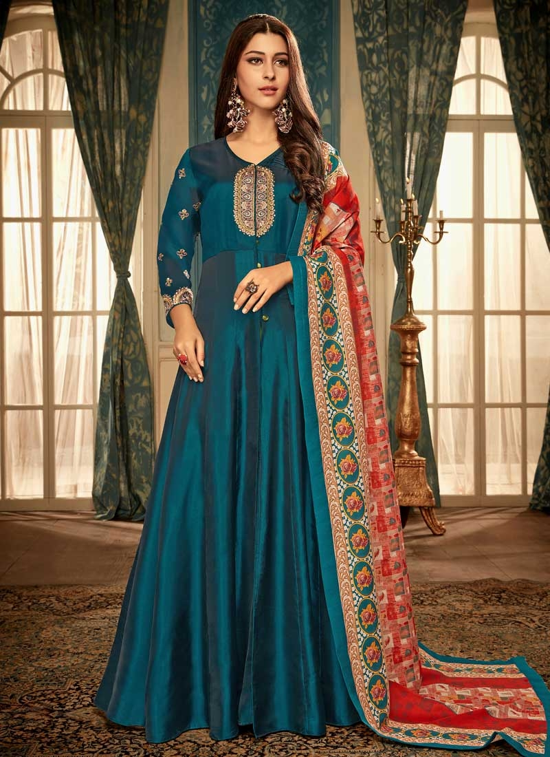 Art Silk Readymade Floor Length Gown For Ceremonial