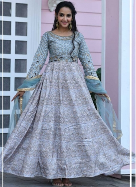 Art Silk Readymade Long Length Gown For Ceremonial
