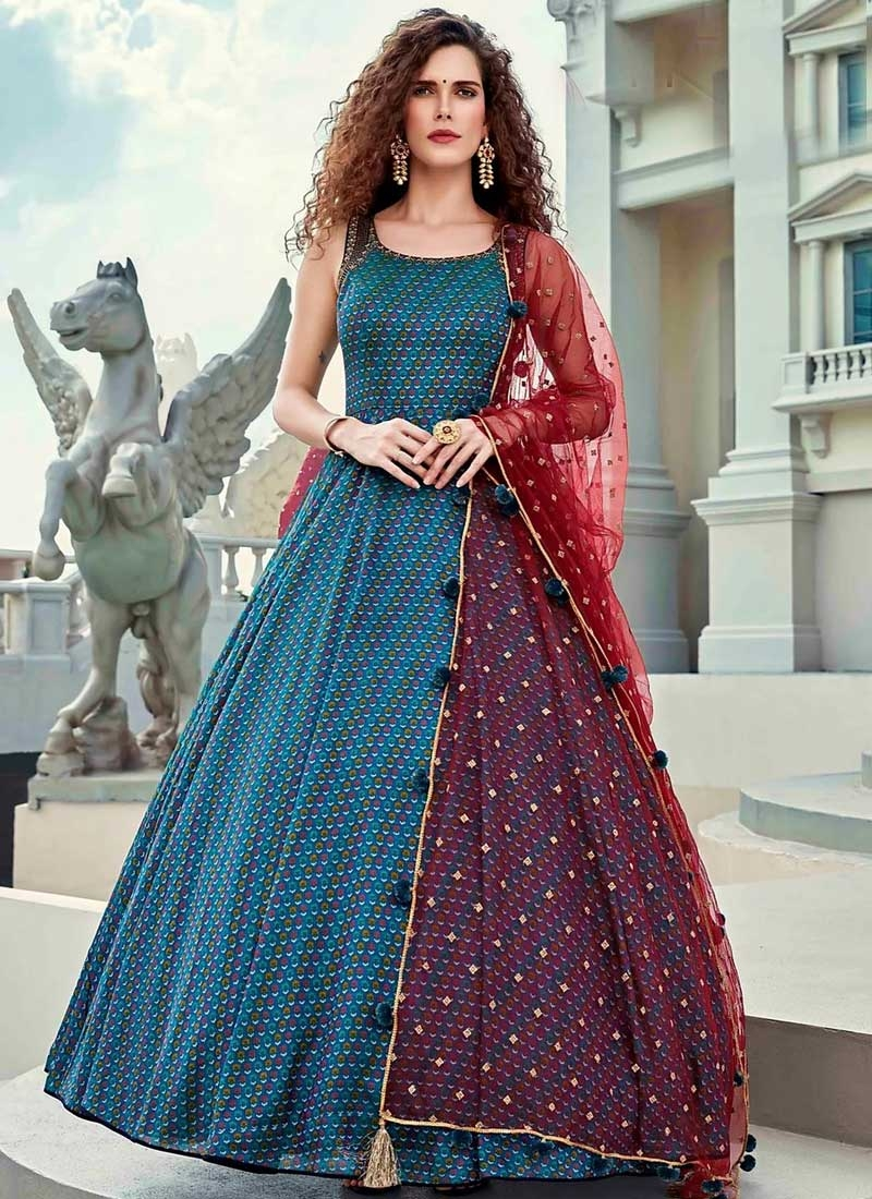 Art Silk Readymade Trendy Gown For Ceremonial