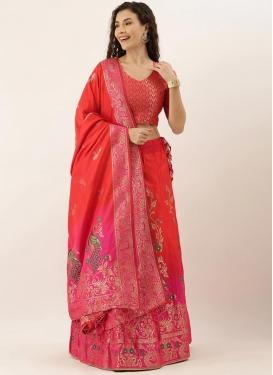 Art Silk Red and Rose Pink Trendy A Line Lehenga Choli