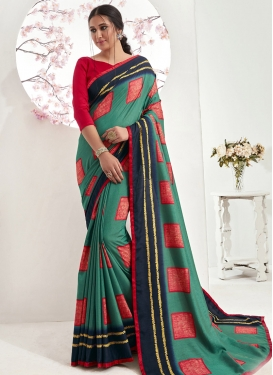 Art Silk Red and Sea Green Contemporary Style Saree
