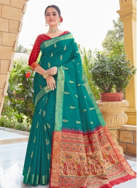 Art Silk Red and Teal Contemporary Style Saree