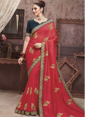 Art Silk Red and Teal Trendy Classic Saree