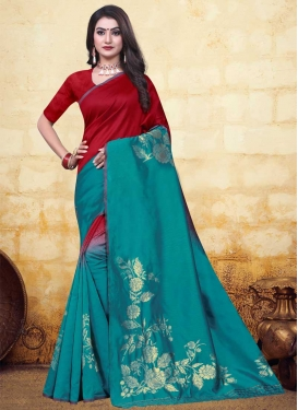 Art Silk Red and Teal Woven Work Trendy Classic Saree