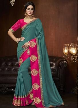 Art Silk Rose Pink and Teal Trendy Classic Saree