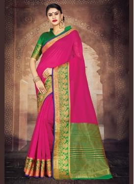 Art Silk Rose Pink Weaving Casual Saree