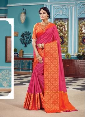 Art Silk Rose Pink Woven Traditional Designer Saree