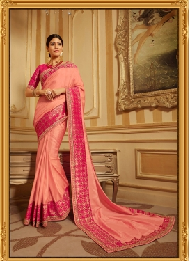 Art Silk Salmon Patch Border Traditional Saree