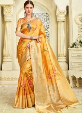 Art Silk Saree Weaving Silk in Orange
