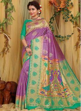 Art Silk Sea Green and Violet Designer Contemporary Saree For Ceremonial