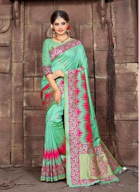 Art Silk Sea Green Woven Traditional Designer Saree