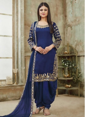 Art Silk Semi Patiala Salwar Kameez For Ceremonial