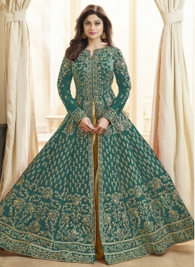Art Silk Shamita Shetty Long Length Designer Suit