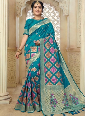 Art Silk Teal Weaving Traditional Designer Saree