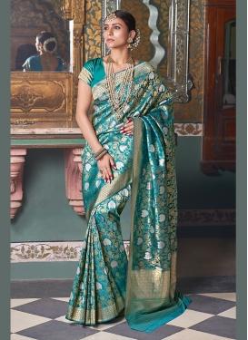 Art Silk Teal Weaving Traditional Saree