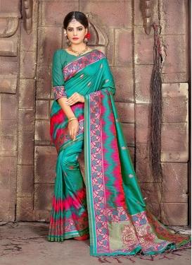 Art Silk Teal Woven Designer Traditional Saree