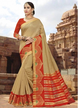 Art Silk Thread Work Beige and Red Traditional Designer Saree