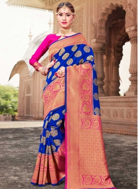 Art Silk Thread Work Blue and Rose Pink Contemporary Style Saree