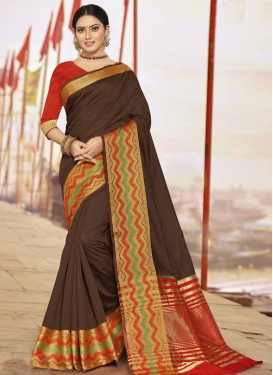 Art Silk Thread Work Coffee Brown and Red Designer Contemporary Saree