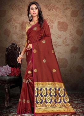 Art Silk Thread Work Contemporary Saree