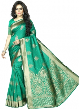 Art Silk Thread Work Designer Contemporary Saree
