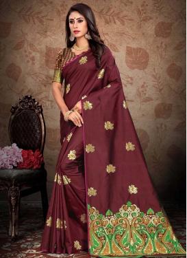 Art Silk Thread Work Designer Contemporary Style Saree