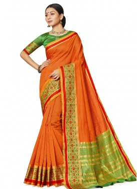 Art Silk Thread Work Green and Orange Designer Contemporary Saree