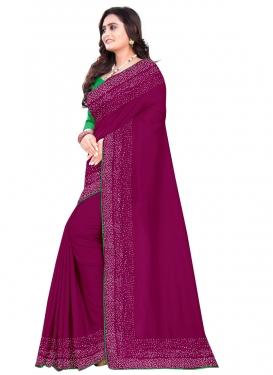 Art Silk Thread Work Mint Green and Purple Traditional Designer Saree