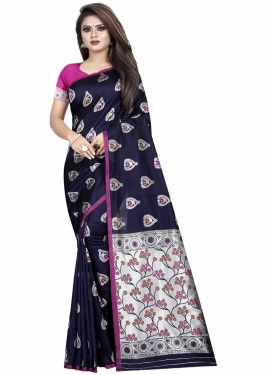 Art Silk Thread Work Navy Blue and Rose Pink Classic Saree