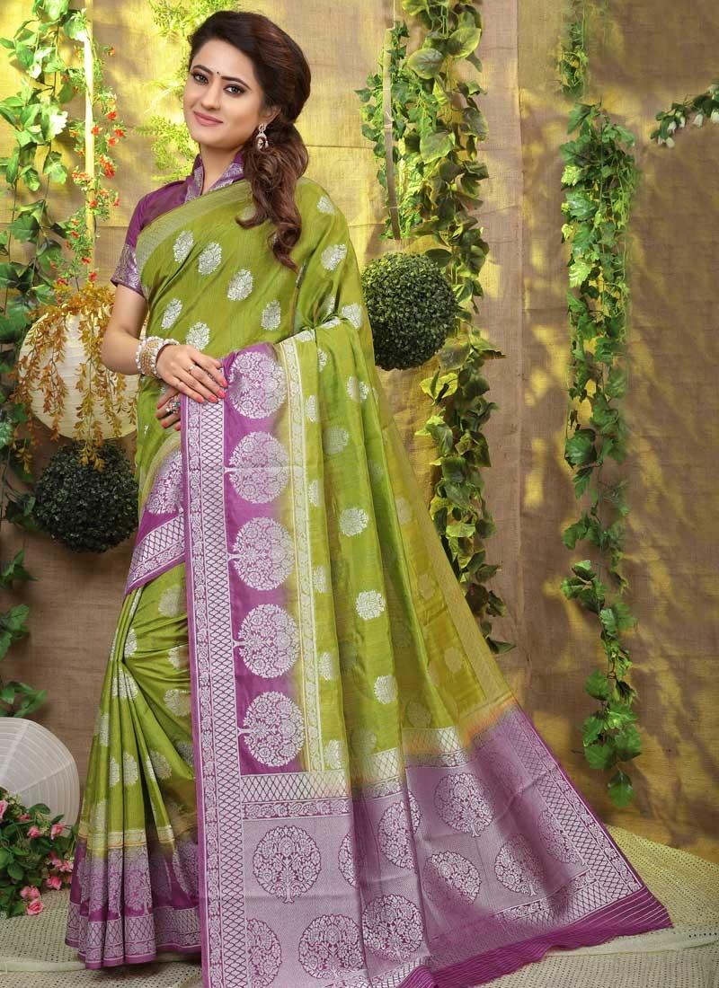 Art Silk Thread Work Olive and Violet Designer Traditional Saree