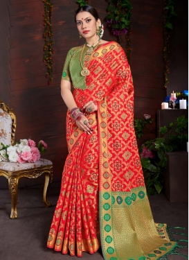 Art Silk Thread Work Red and Sea Green Contemporary Saree