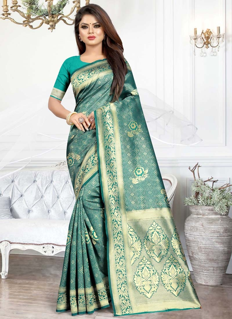 Art Silk Thread Work Traditional Saree