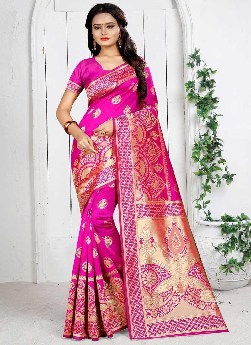 Art Silk Thread Work Trendy Classic Saree