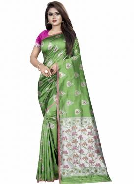 Art Silk Thread Work Trendy Saree