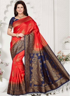 Art Silk Traditional Designer Saree in Red