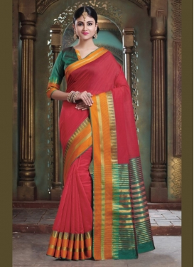 Art Silk Traditional Saree in Red