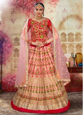 Art Silk Trendy A Line Lehenga Choli For Bridal