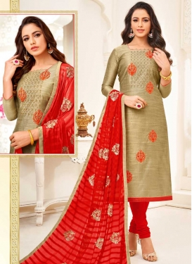 Art Silk Trendy Churidar Salwar Kameez For Ceremonial