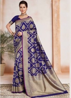 Art Silk Trendy Saree in Navy Blue