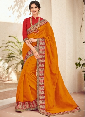 Art Silk Trendy Saree in Orange