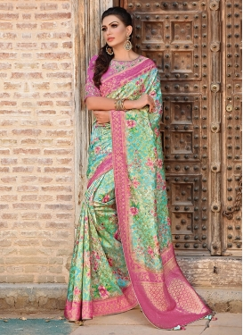 Art Silk Turquoise And Pink Traditional Saree