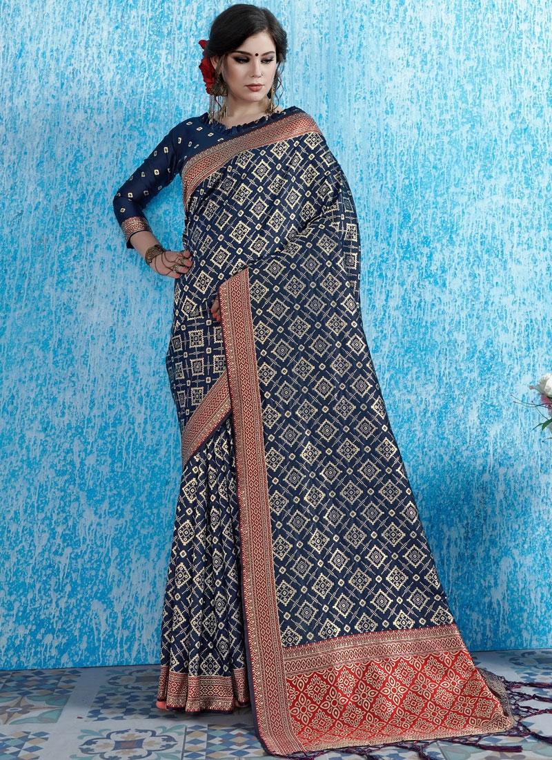 Art Silk Weaving Navy Blue Traditional Designer Saree