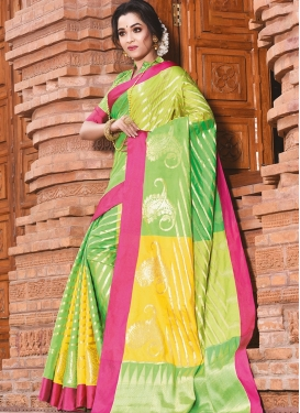 Art Silk Weaving Traditional Designer Saree in Mint Green and Yellow