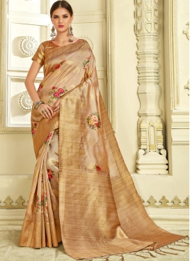 Art Silk Weaving Traditional Saree in Gold