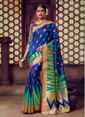 Art Silk Weaving Trendy Saree in Blue
