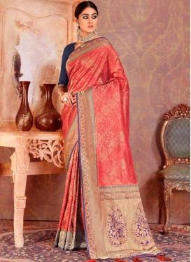 Art Silk Weaving Trendy Saree in Red