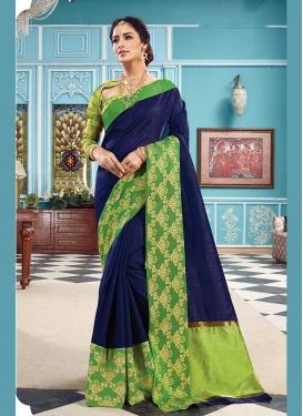 Art Silk Woven Navy Blue Traditional Saree